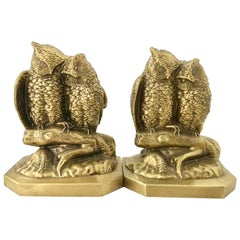 Mid-Century Pair of Solid Brass Owl Book End Sculptures