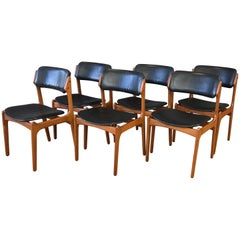 Set of Six Erik Buch for O.D. Møbler OD-49 Teak and Leather Dining Chairs
