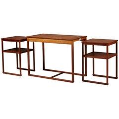 """Nest of Tables """"Släden"""" Designed by Carl Malmsten, Sweden, 1950s"""