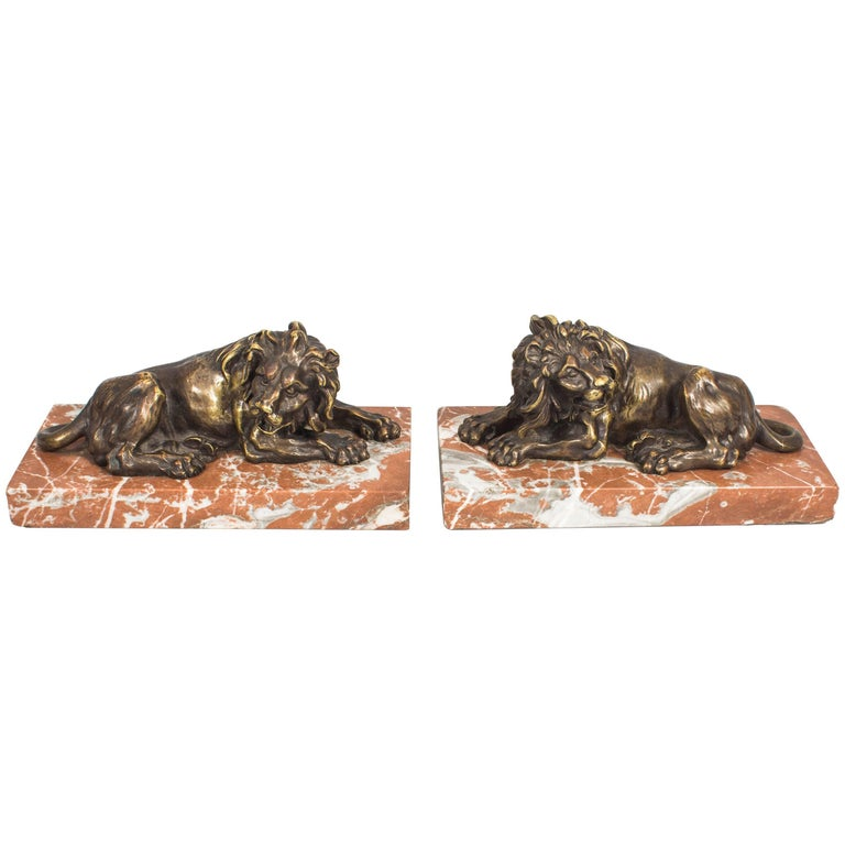 Antique Pair of Grand Tour Bronze Lions on Marble Bases 19th Century