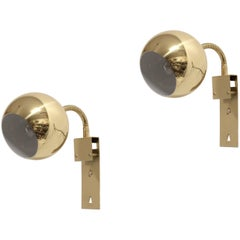 Pair of Midcentury Wall Lamps in Brass, Norway, 1960s