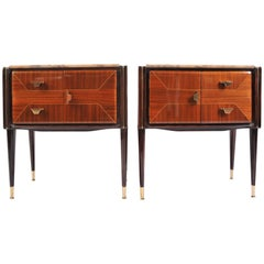 Italian 1950s Marble-Topped Nightstands or Bedside Cabinets