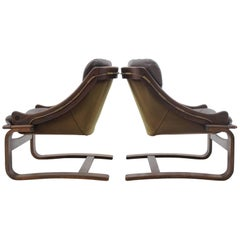 1970s Scandinavian Bentwood Leather Lounge chair by Ake Fribytter for Nelo Mobel