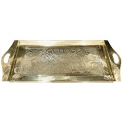Arts and Crafts Brass Tray with Zoomorphic Design