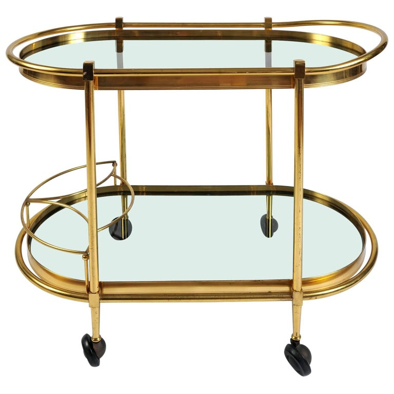 Italian 1950s Curved Brass Bar Cart/Drinks Trolley