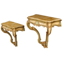 Pair of Venetian Console Tables in Lacquered and Giltwood with Marble Top