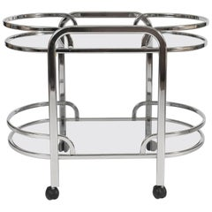 1970s Italian Curved Bar Cart/Drinks Trolley