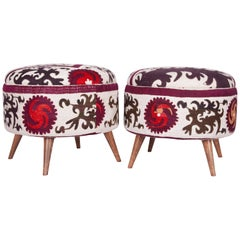 Ottoman or Poufs Fashioned from a Mid-20th Century Samarkand Silk Suzani