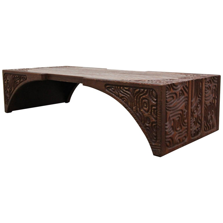 Midcentury Panelcarve Style Carved Wood Coffee Table by Sherrill Broudy For Sale
