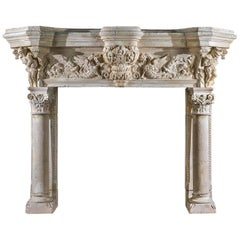 Monumental French Renaissance Style Antique Fireplace