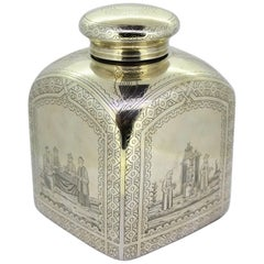 Antique Russian Silver Tea Caddy, by Petr Abrosimov, Moscow, 1879