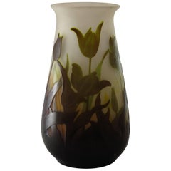 Emile Galle Cameo Glass Vase Acid Etched with Flowers and Leaves