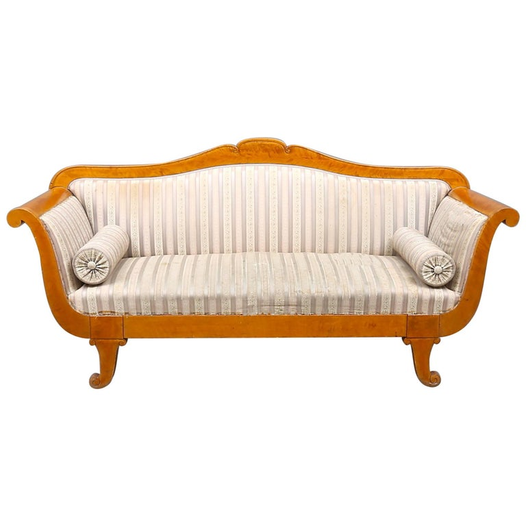 Antique Swedish Biedermeier Sofa 19th Century Golden Birch 3-4 seater