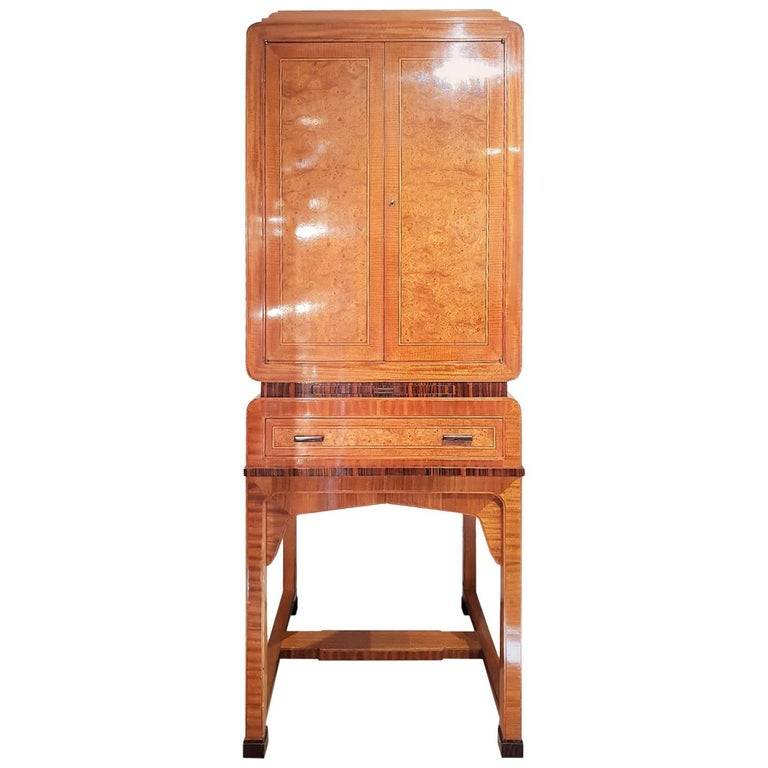 Art Deco Cocktail Cabinet in Burr Walnut and Other Veneers For Sale
