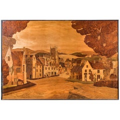 Very Large Arts & Crafts Marquetry Panel Depicting an English Village Scene