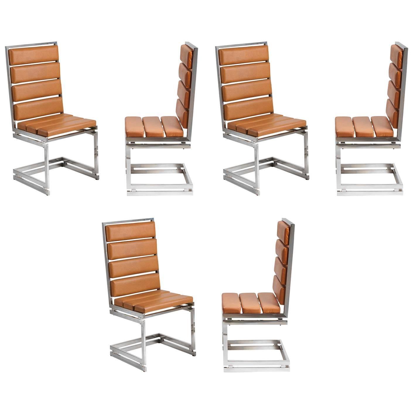 Six Italian Dining Chairs by Romeo Rega 1970s