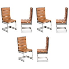 Six Italian Dining Chairs by Romeo Rega 1970s
