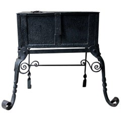 Rare 17th Century Spanish Baroque Iron Strong Box on Stand, circa 1660-1690