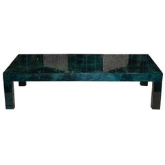 1960s Aldo Tura Emerald Green Goatskin Coffee Table