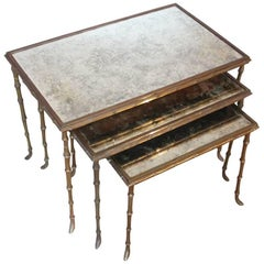 Fine Set of 1970s Gilt-Brass Nesting Tables