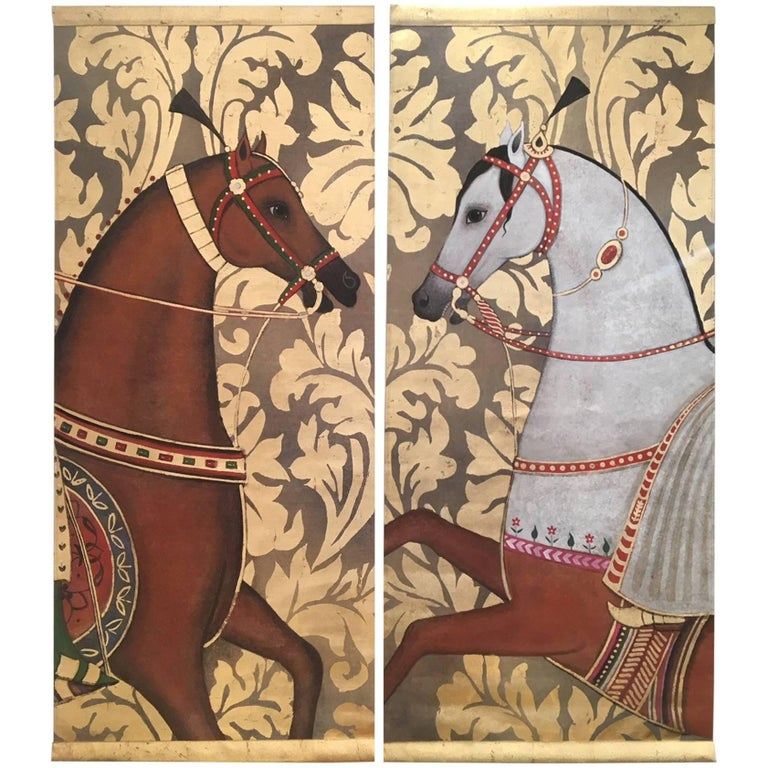 Pair of Arab Horses Painted on Linen