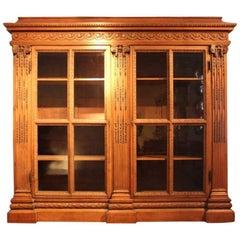 Impressive 19th Century French Carved Oak Bookcase