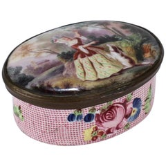 Antique English Battersea Bilston Snuff or Patch Box with a Lady and Begging Dog