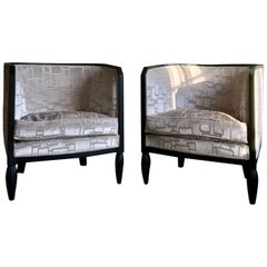 Pair of Beautiful Art Deco Armchairs with Velvet Upholstery