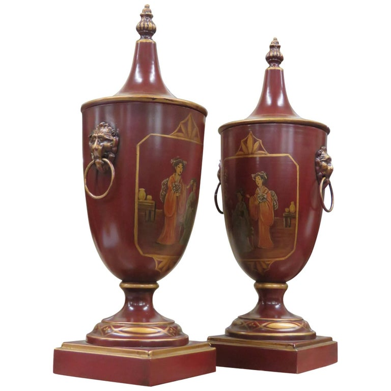 Pair of Tole Decorated Urns
