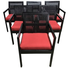 Six Midcentury Ebonized Armchairs, in the Style of Dunbar, Restored
