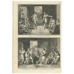 Antique Print of Wedding and Divorce Customs in Canada by B. Picart, 1723
