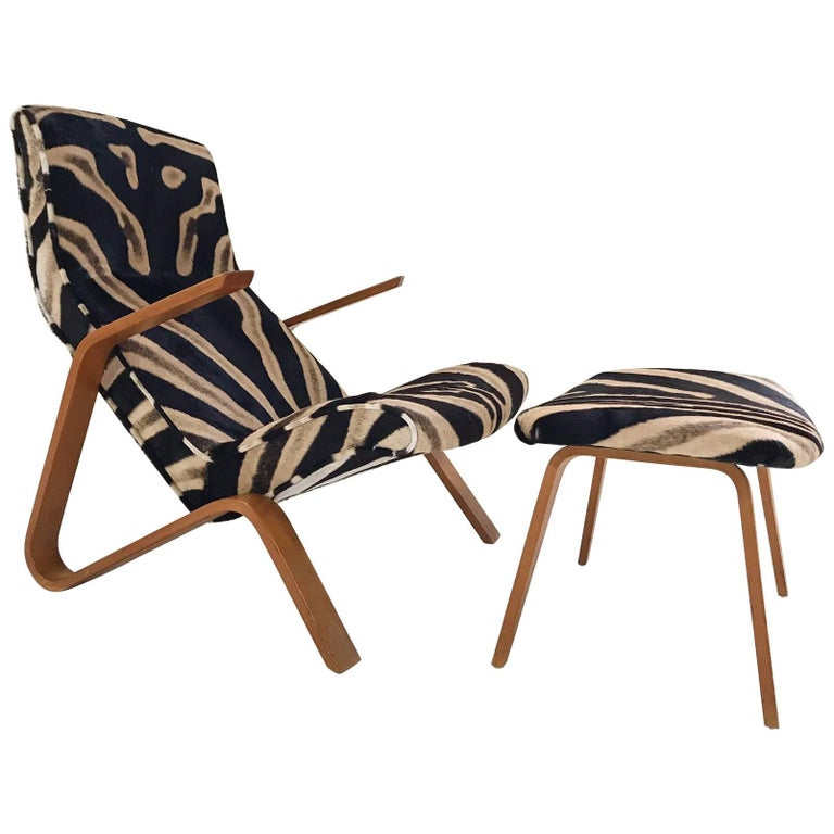 Eero Saarinen for Knoll Grasshopper Chair and Ottoman in Zebra Hide For Sale