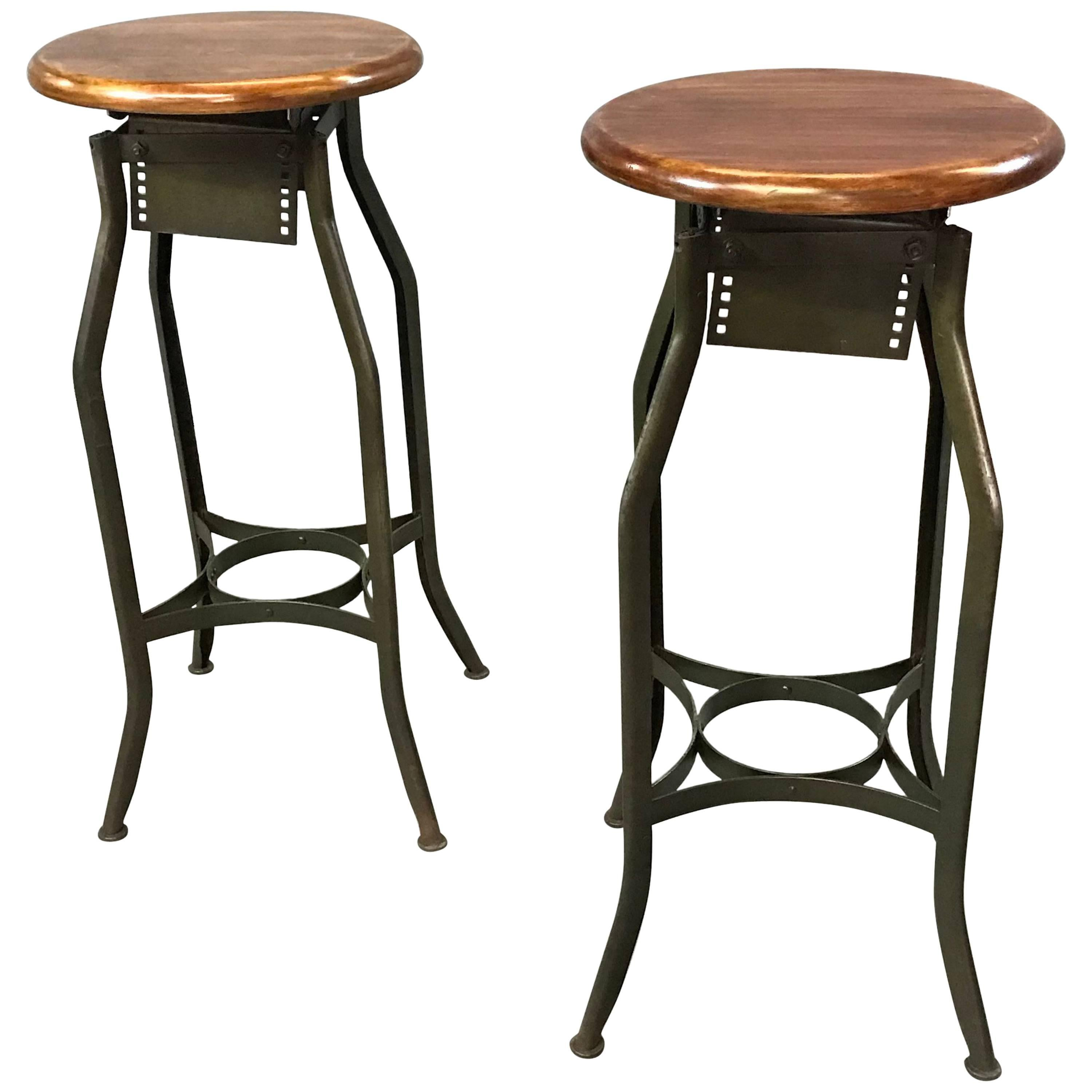 Pair of Industrial Height Adjustable Toledo Shop Stools
