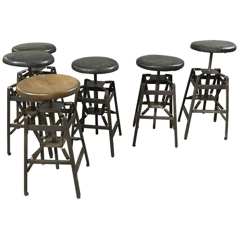 Industrial Adjustable Drafting Spring Stools by American Cabinet Co. For Sale