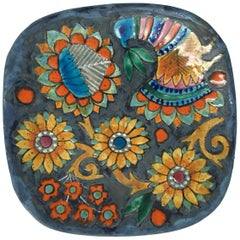 Hand-Painted Charger by Master Potter Marjatta Taburet Quimper France 1960