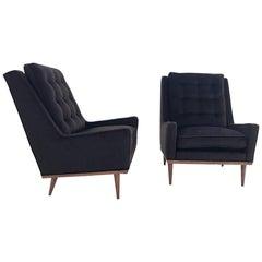 Milo Baughman for James Inc Lounge Chairs in Loro Piana Alpaca Wool - Pair