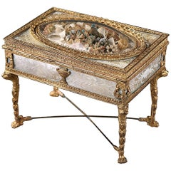 19th Century Charles X Jewelry Box in Ormolu and Mother-of-Pearl