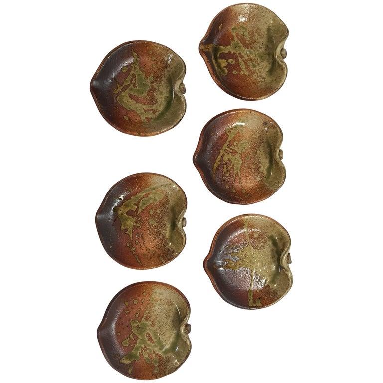 Ceramic Stoneware Leaf Form Plates Set of Six