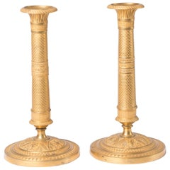Candlesticks Antique Gilt Bronze Empire, 1820, France