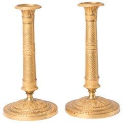 Candlesticks Antique Gilt Bronze Empire, 1820, France