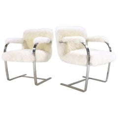 Mies Van Der Rohe Brno Chairs for Knoll in New Zealand Sheepskin - Pair
