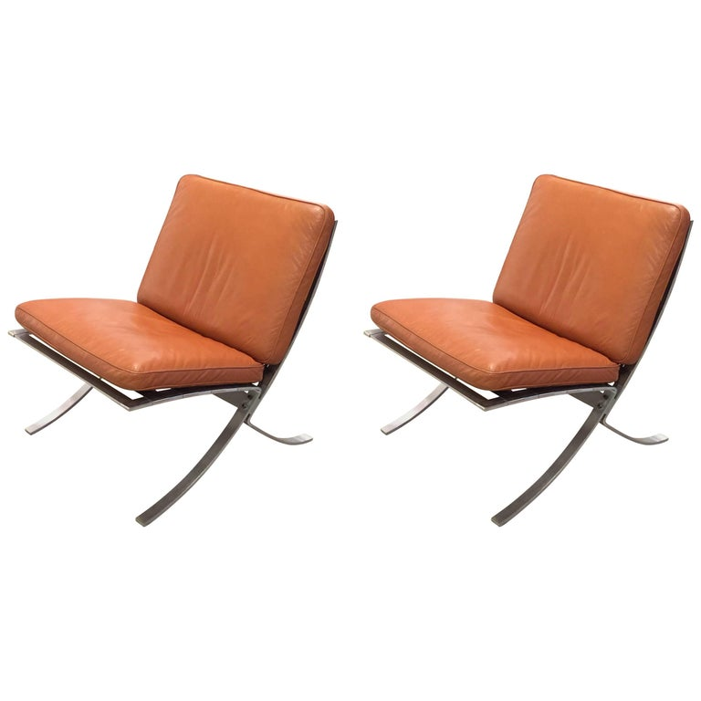 Pair of Mid-Century Modern Chairs with Steel Base