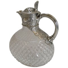 Victorian English Cut Crystal and Sterling Silver Claret or Wine Jug, 1863