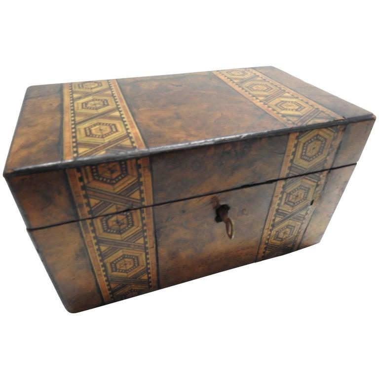 19th Century English Tunbridge Walnut Tea Caddy For Sale