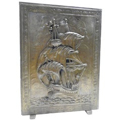 Brass and Wood Umbrella Stand with Embossed Sailing Ship