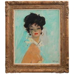 Jean-Gabriel Domergue Carmen 1950 Oil on Board, Signed, original painting