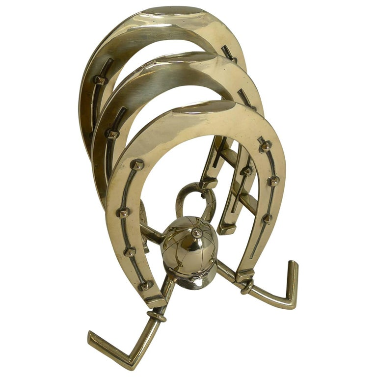Large Antique English Brass Equestrian Letter or Stationery Holder, circa 1890