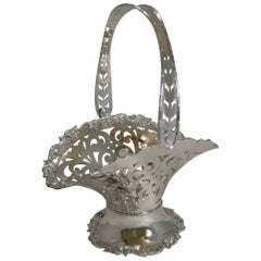 Antique English Reticulated Silver Plate Fruit Basket, circa 1900