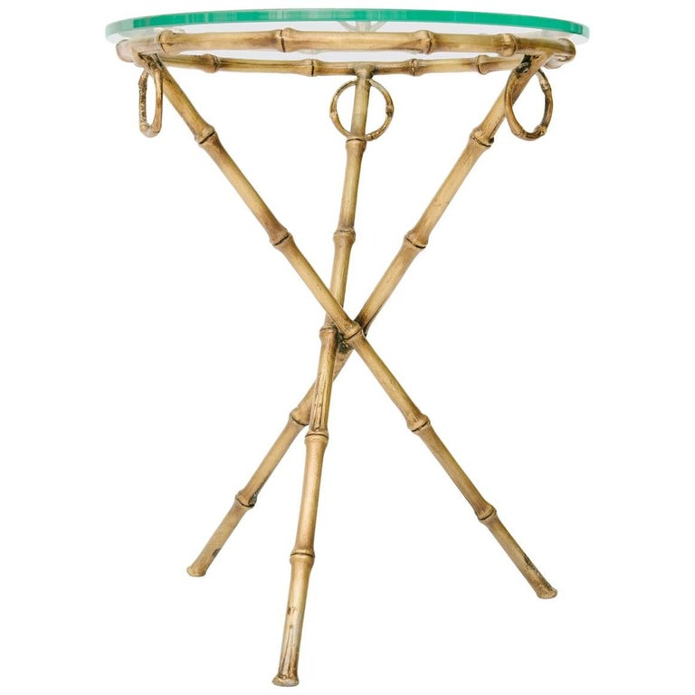 Vintage Italian Gilt Faux Bamboo Side Table