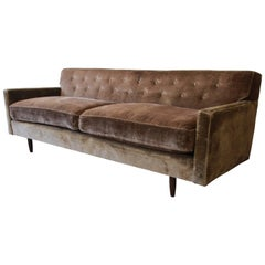 Baker Furniture Midcentury Tufted Brown Velvet Sofa